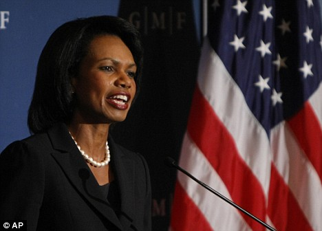 Condoleezza Rice delivers her speech in Washington last night calling for a firm response to Russia